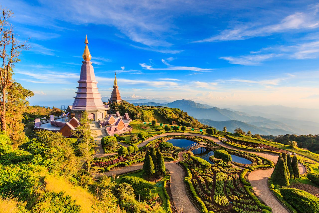 Landmark landscape pagoda in doi Inthanon national park at chiang mai Thailand