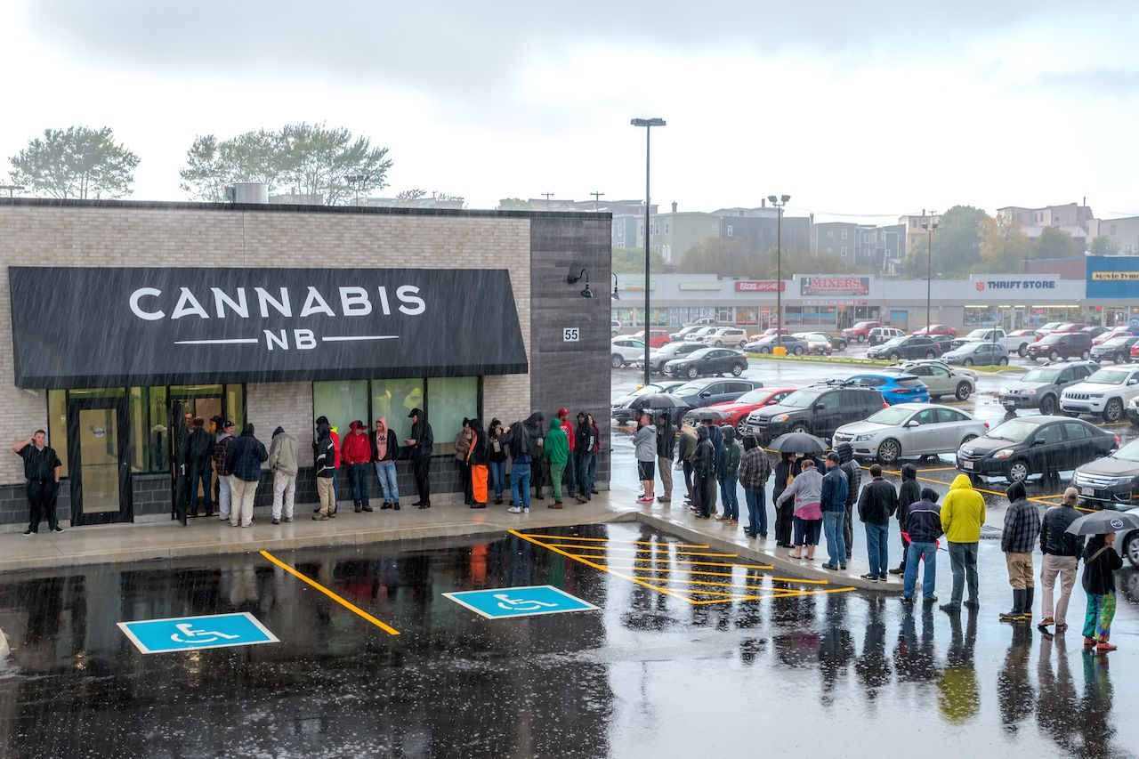 Line at a cannabis store in new Brunswick, Canada