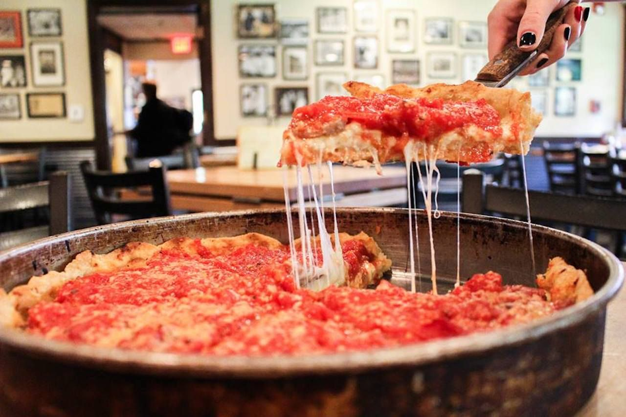 Deep dish pizza from Lou Malnati's in Chicago