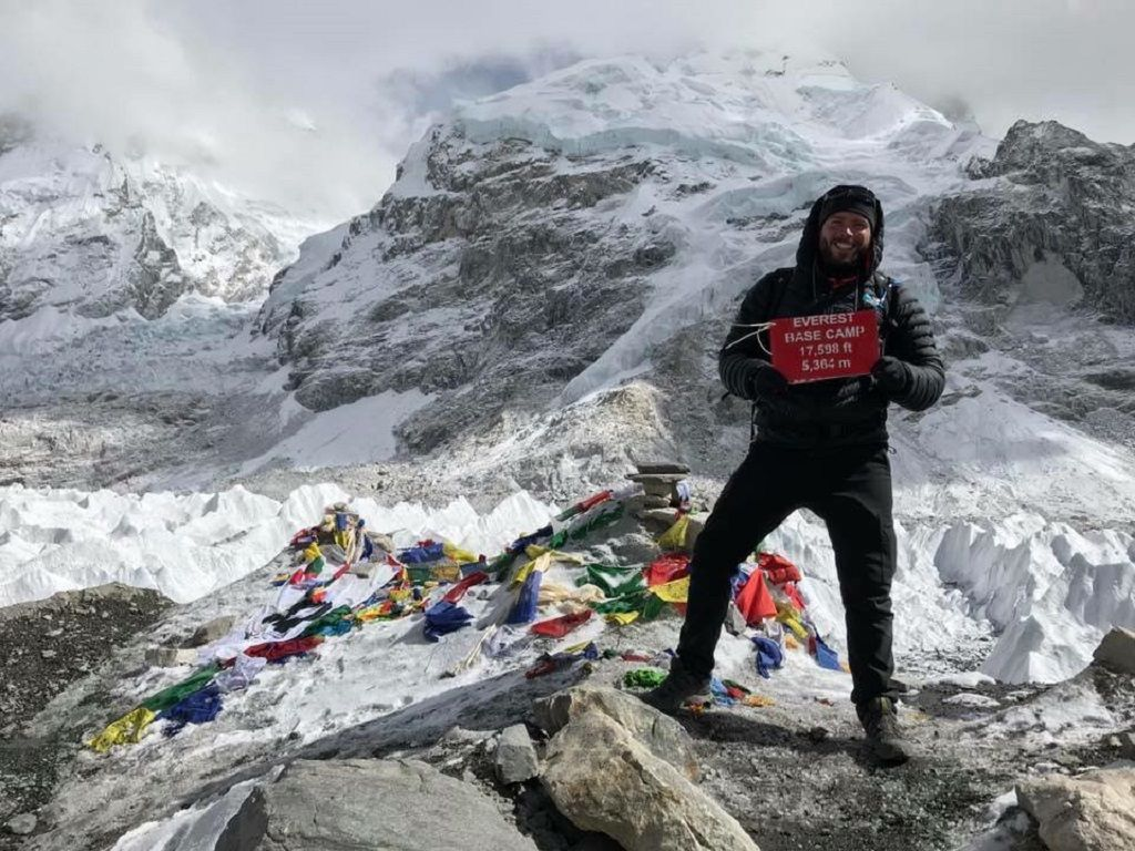 Man at Everest Base Camp with Out Adventures