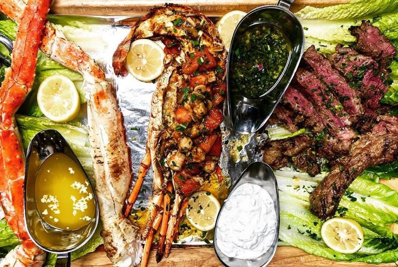 Meat and seafood spread from Santorini by Georgios in Miami