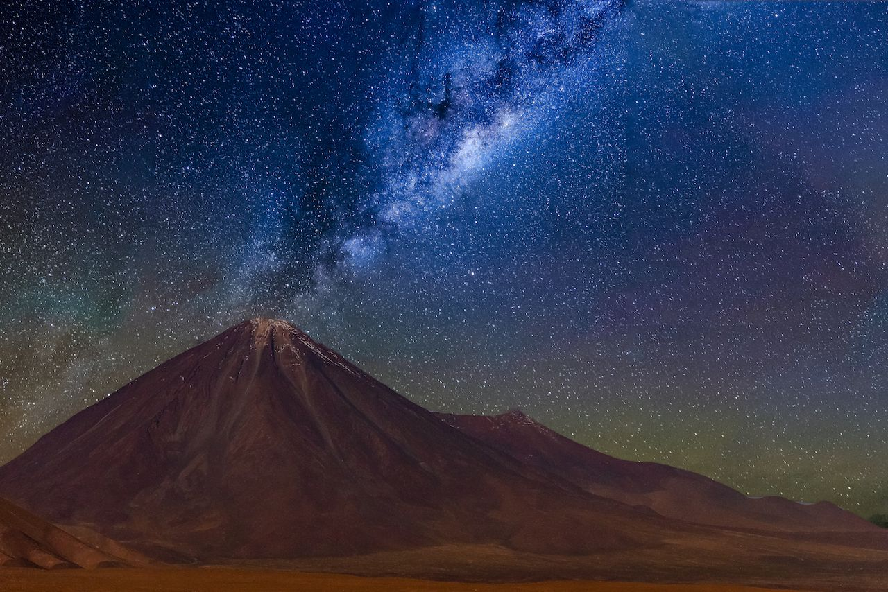 Milky way in Licancabur volcano at Atacama Desert
