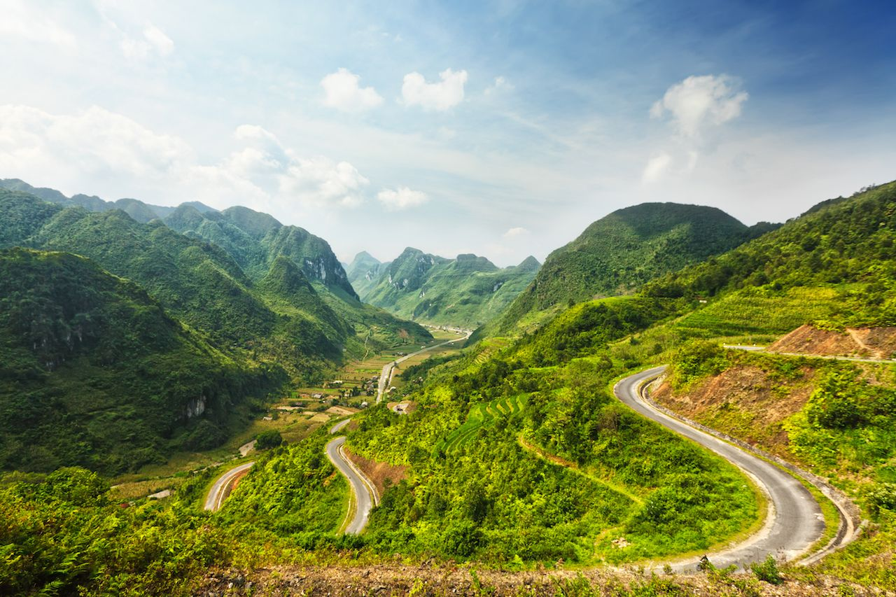 Mountain road in Ha Giang, Vietnam