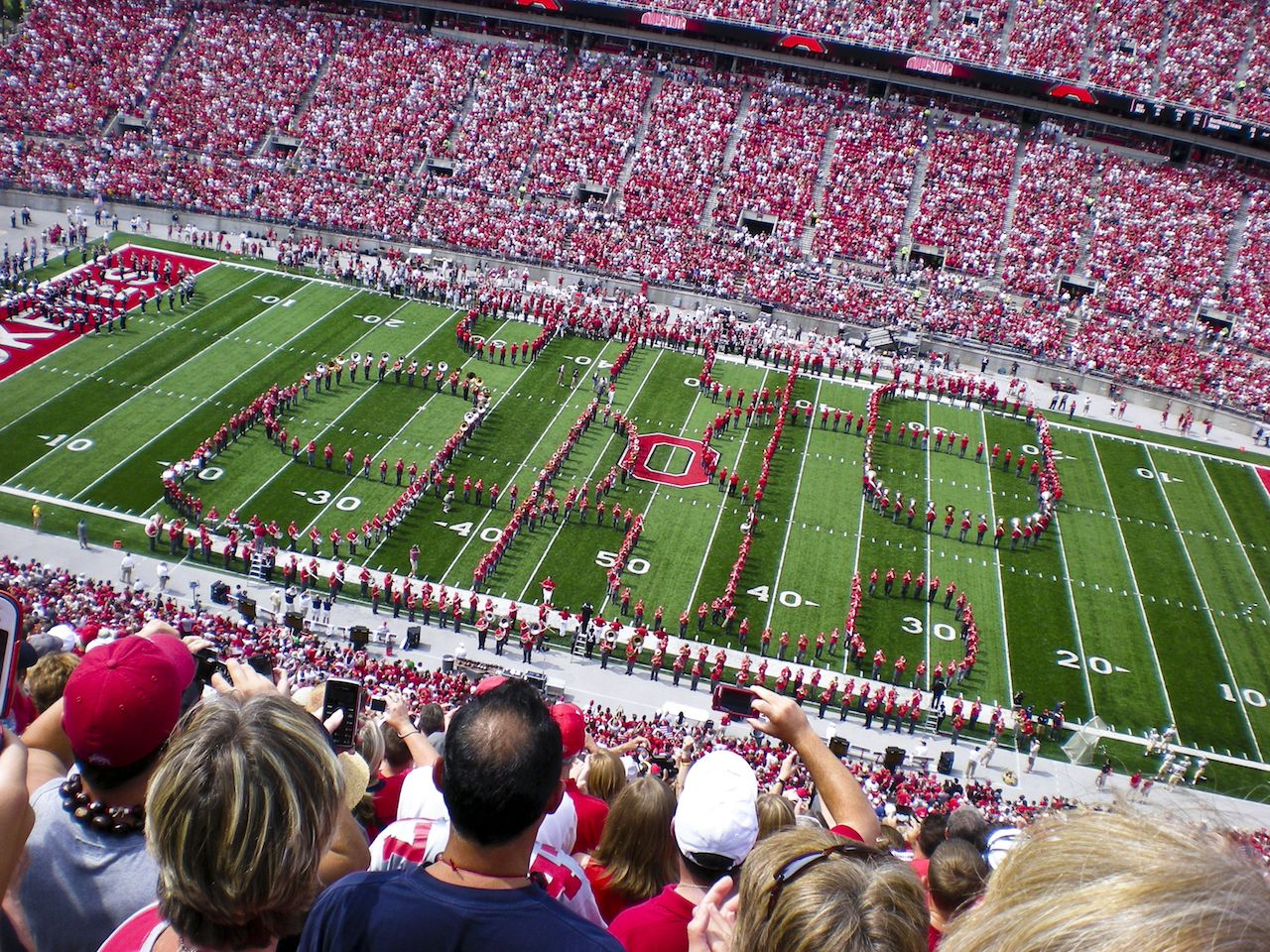 Ohio State football stadium with marching band on the field