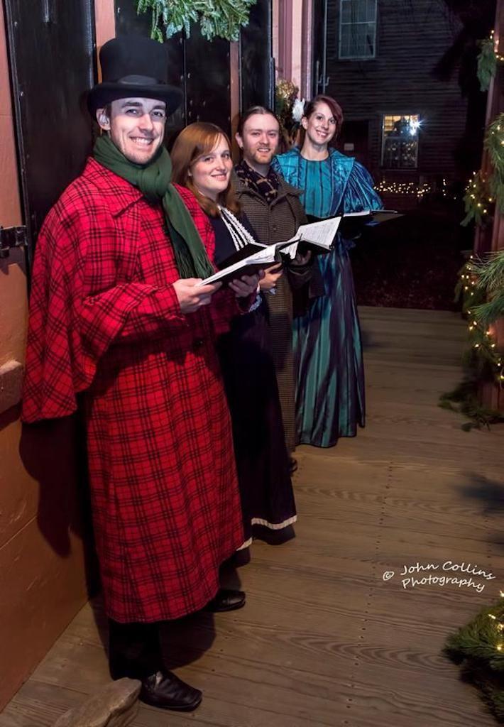 Costumed Christmas carolers in Old Sturbridge Village