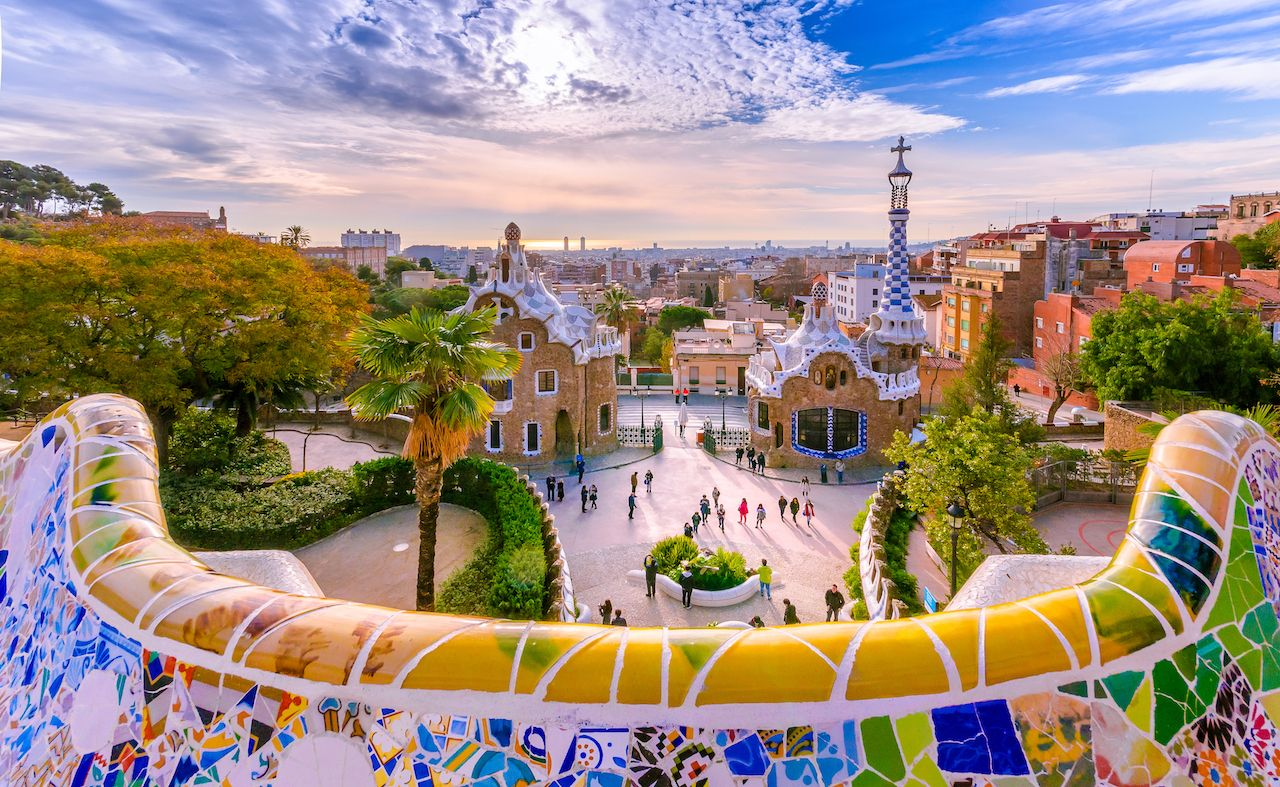 Park Guell in Barcelona in Spain