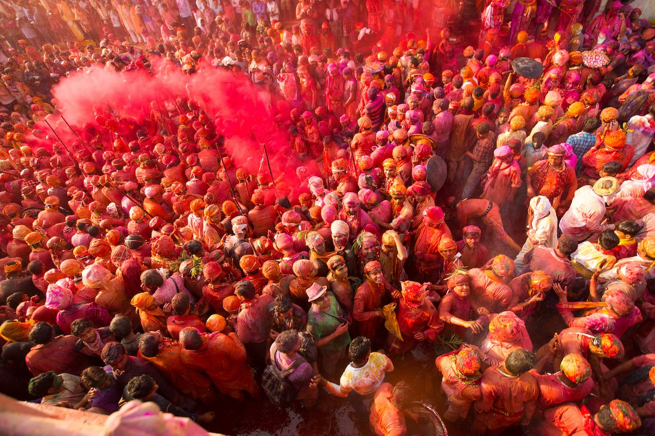 People celebrating Holi festival in India