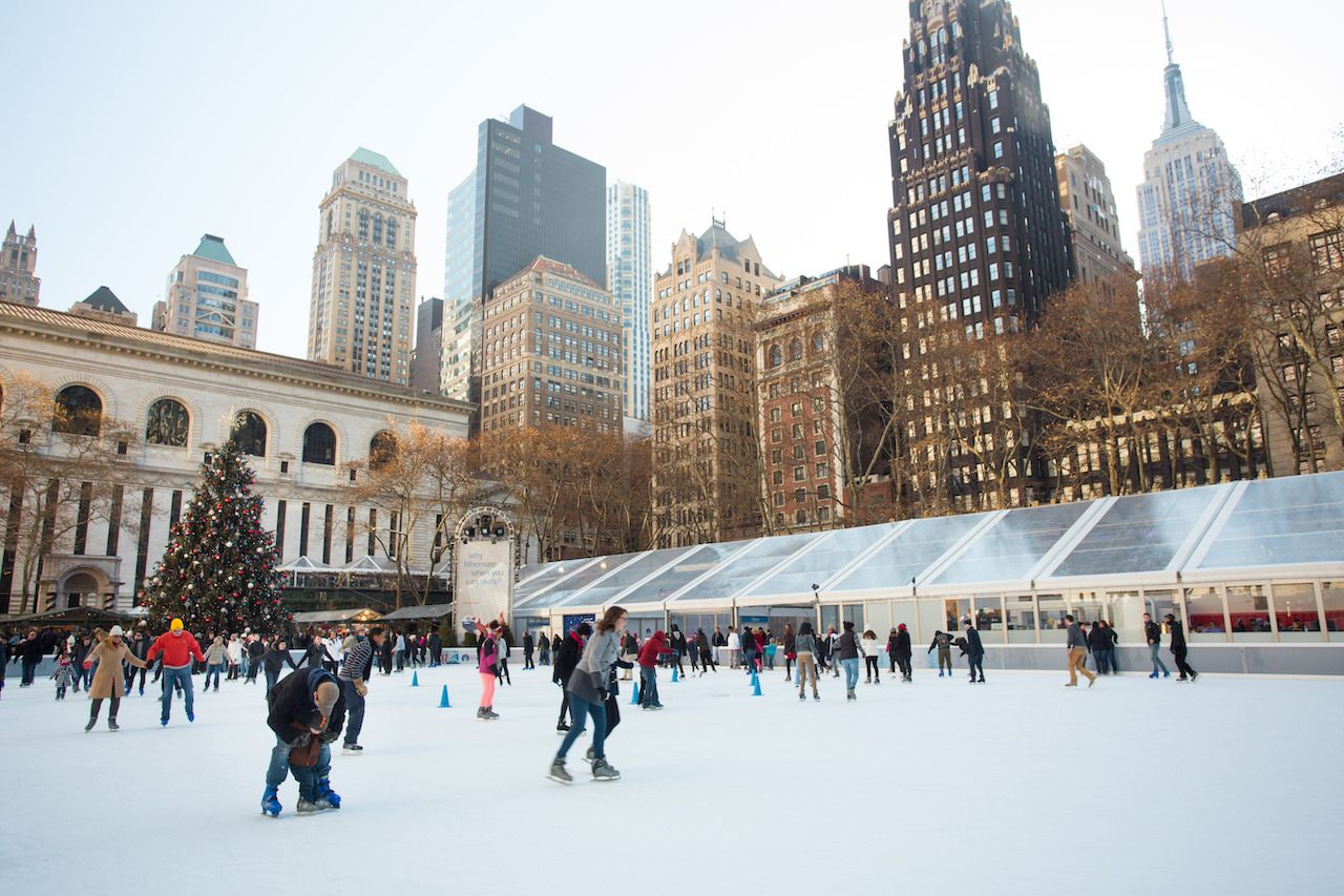 People ice skating in Bryant Park, NYC