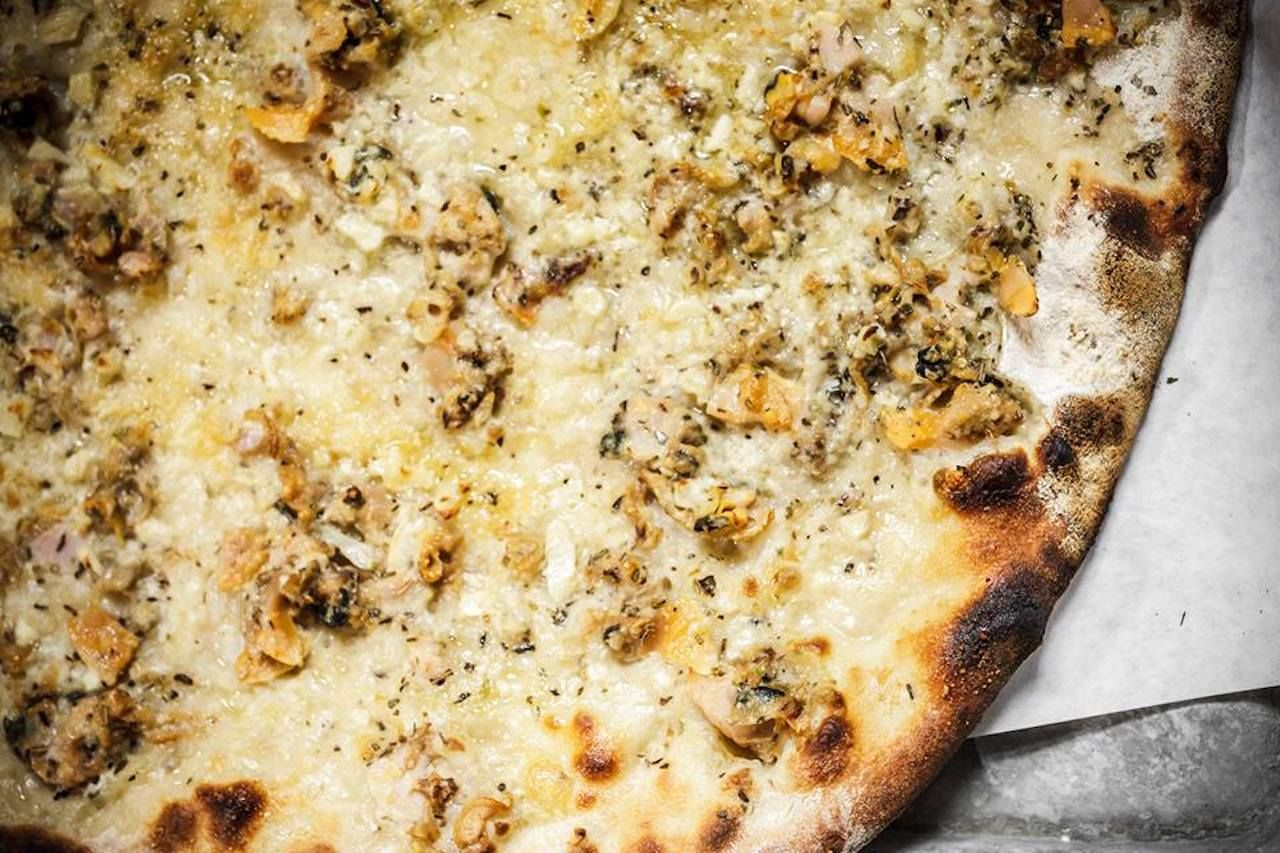 Clam pizza from the original Frank Pepe's Pizza New Haven