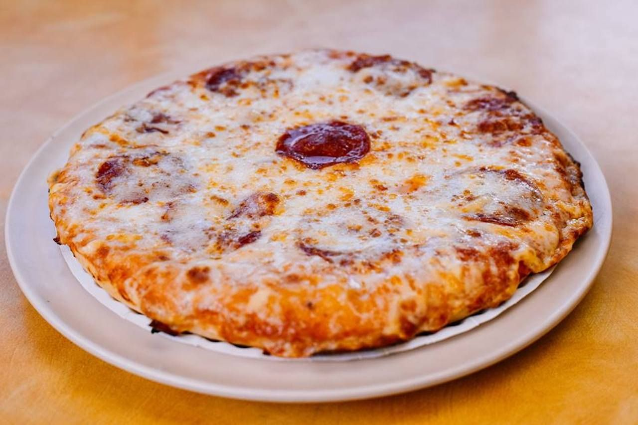 Pepperoni pizza from Reys Pizza in Miami