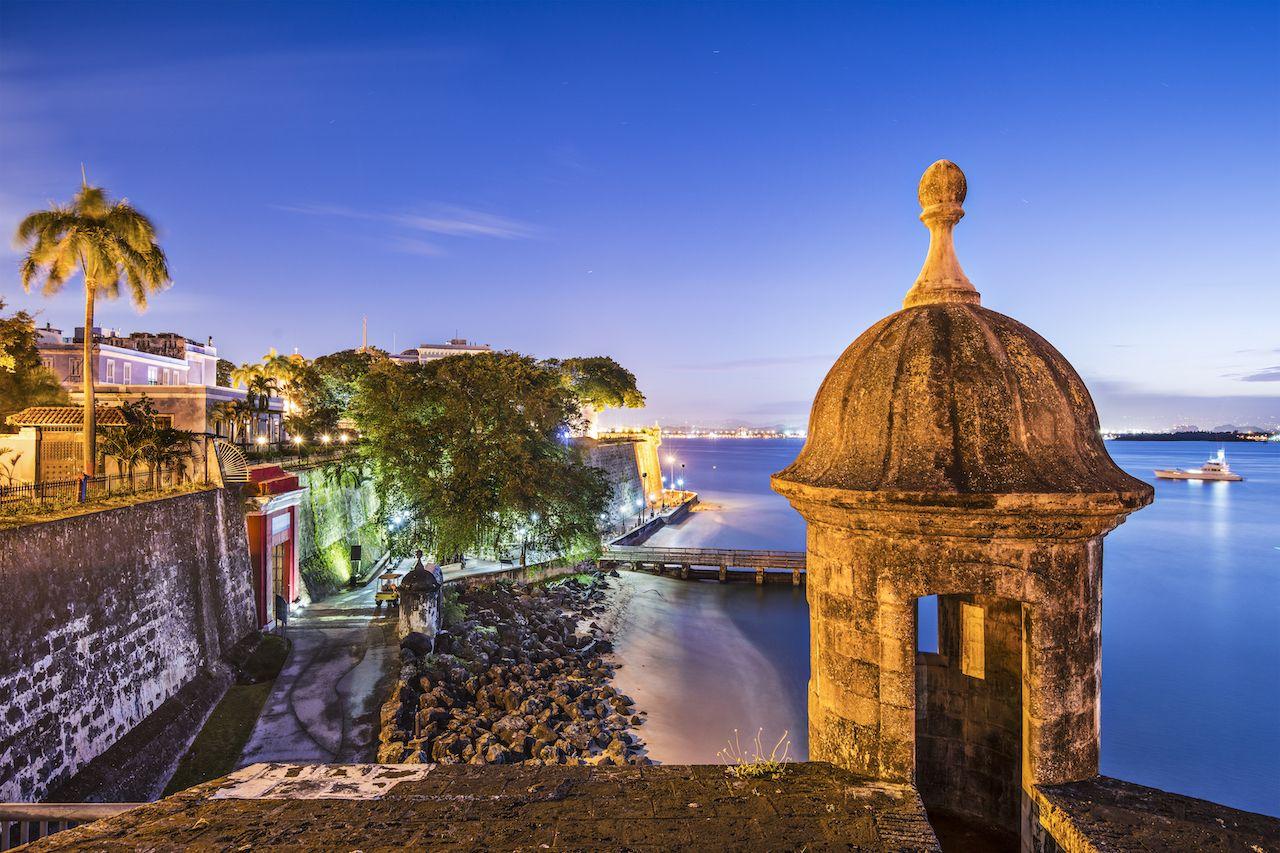 San Juan in Puerto Rico coast at Paseo de la Princesa