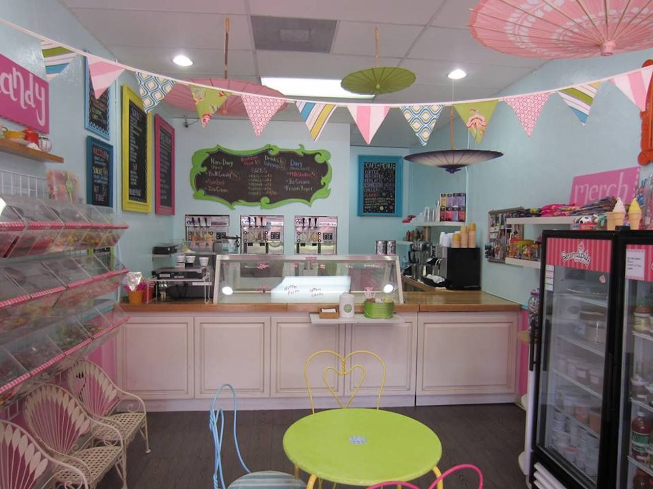 Pastel interior of the Serendipity Yogurt Cafe in Miami