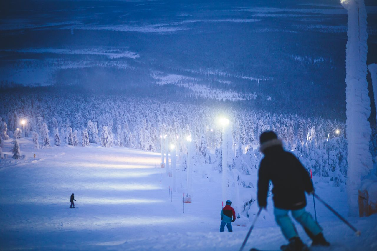 Skiers on the slopes at a Scandanvian ski resort