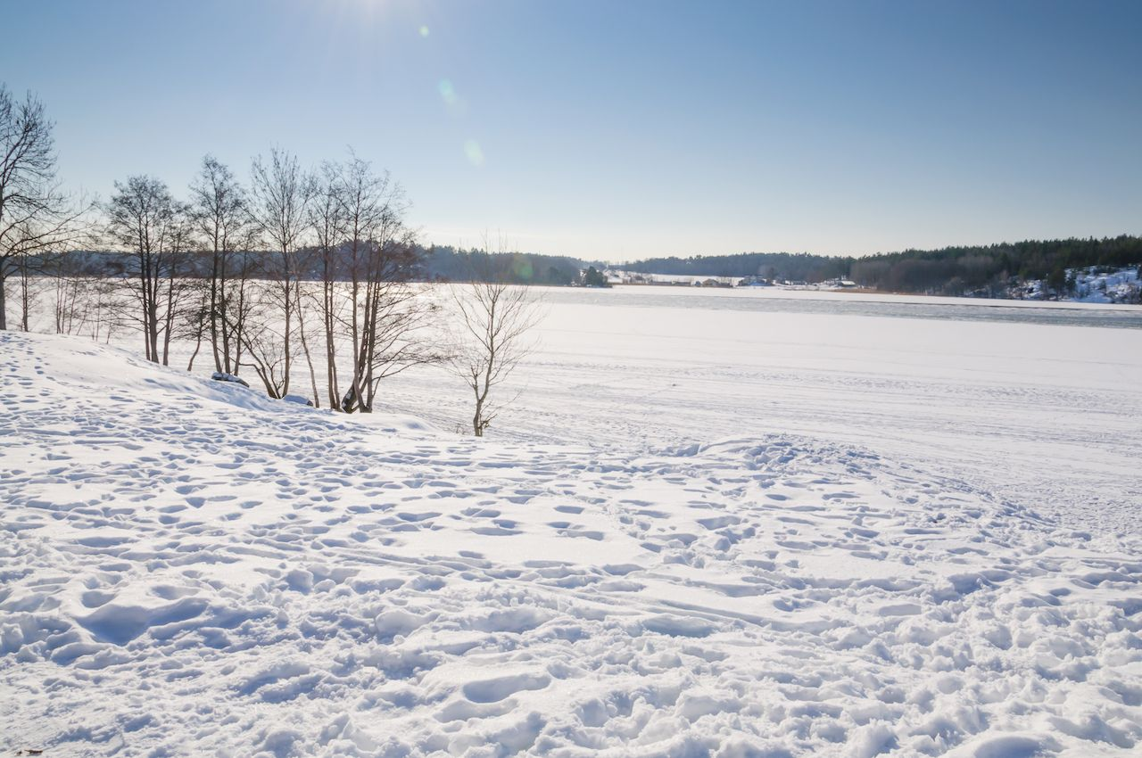 Snow, ice and February sunshine by Lake Malaren, Stockholm, Sweden