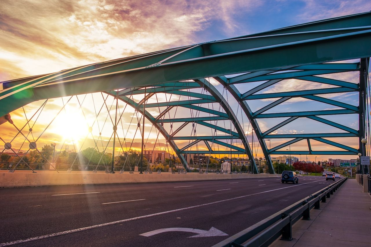 Speer Boulevard Bridge in Denver at Sunset
