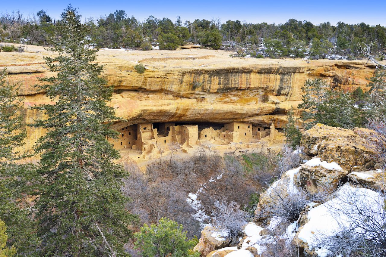 Spruce Tree House in Mesa Verde National Park, Colorado, in winter