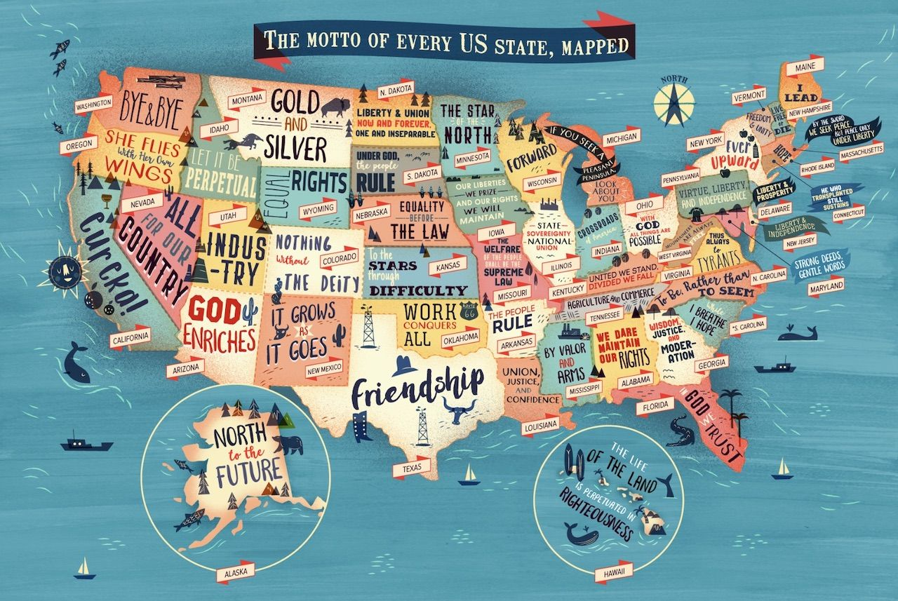 Map of every US state and its motto