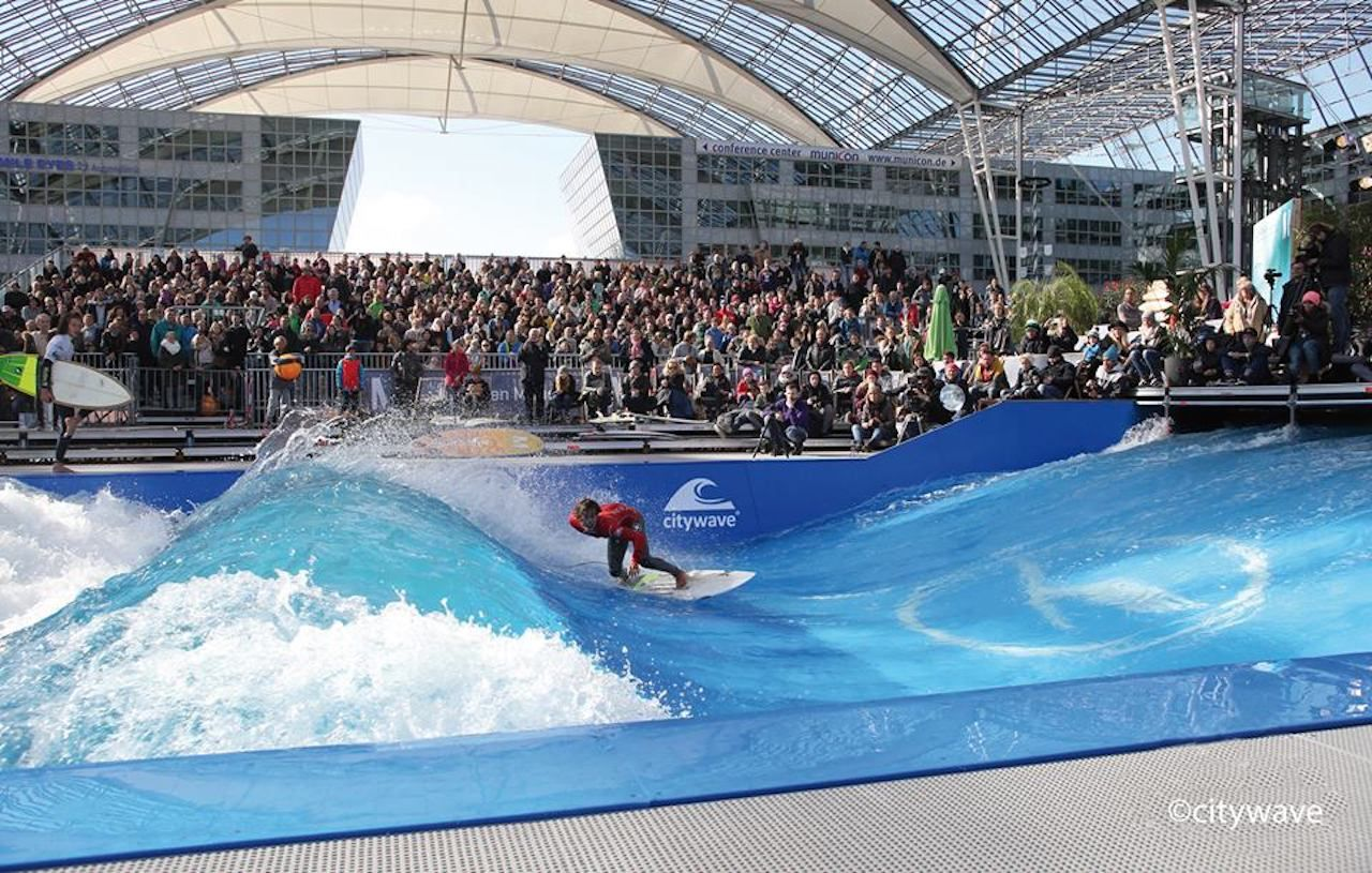 Munich airport surfing competition