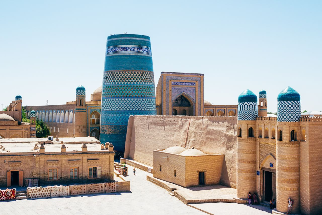 The architecture of Itchan Kala the walled inner town of the city of Khiva Uzbekistan