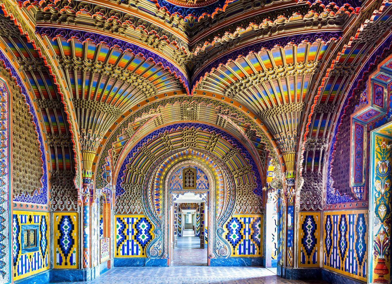 The colorful peacock room in Sammezzano Castle in Reggello, Tuscany, Italy