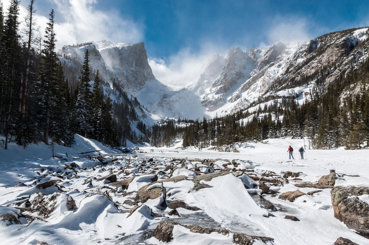 The frozen path to Emerald Lake in Rocky Mountain National Park, Colorado