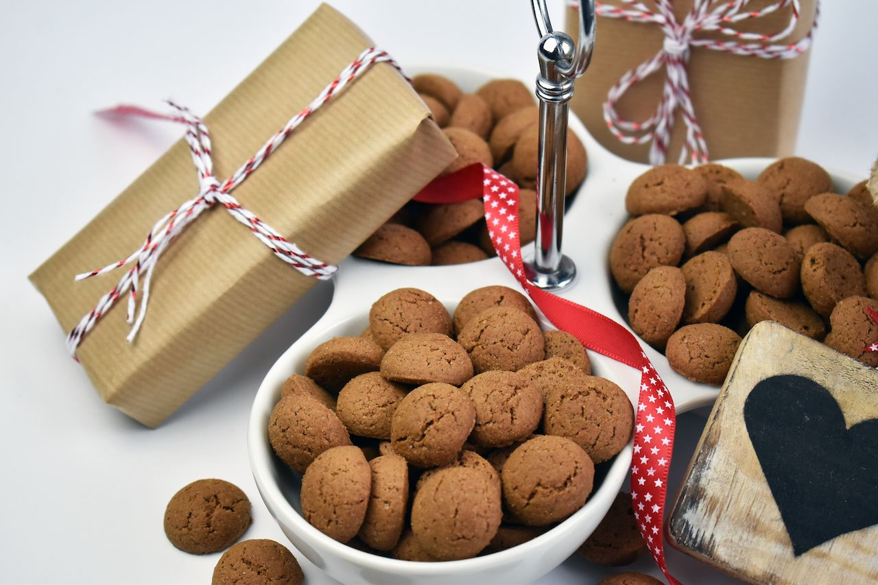 Traditional Dutch mini pepernoten cookies