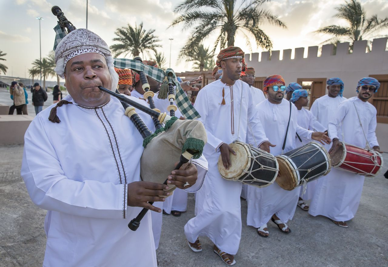 Traditional band in the streets of Muscat, Oman