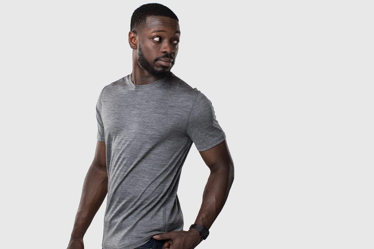 Unbound Merino gray shirt on male model