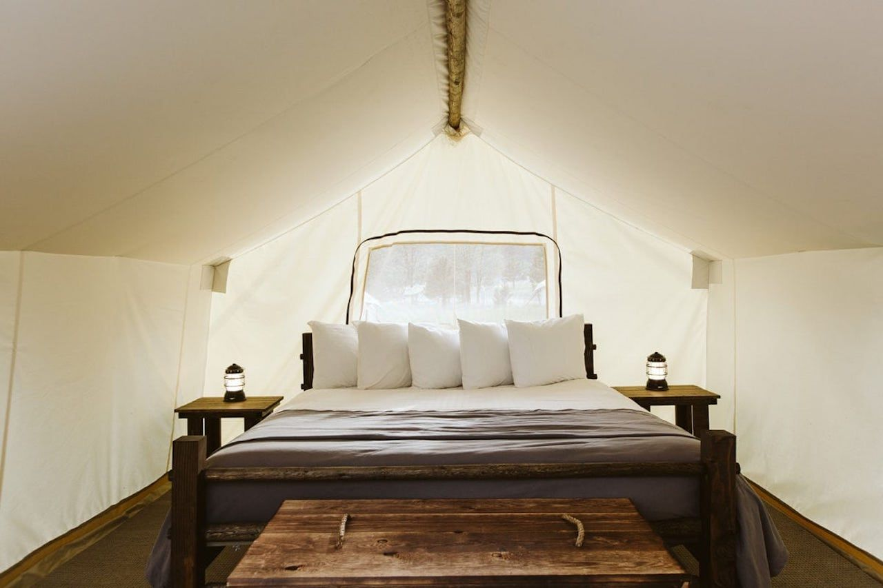 Under Canvas Grand Canyon glamping inisde of tent
