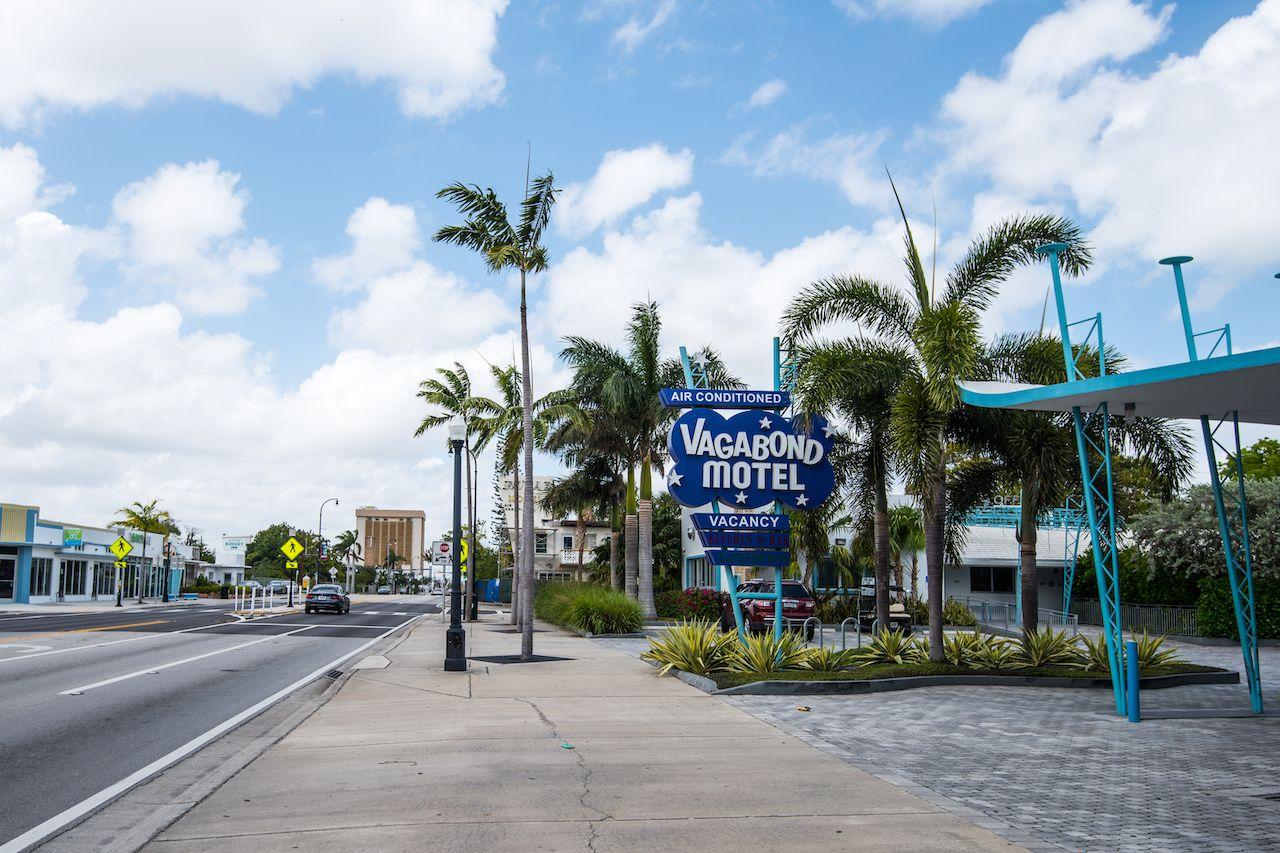 Vagabond Motel street sign on Biscayne Boulevard in Miami Design District