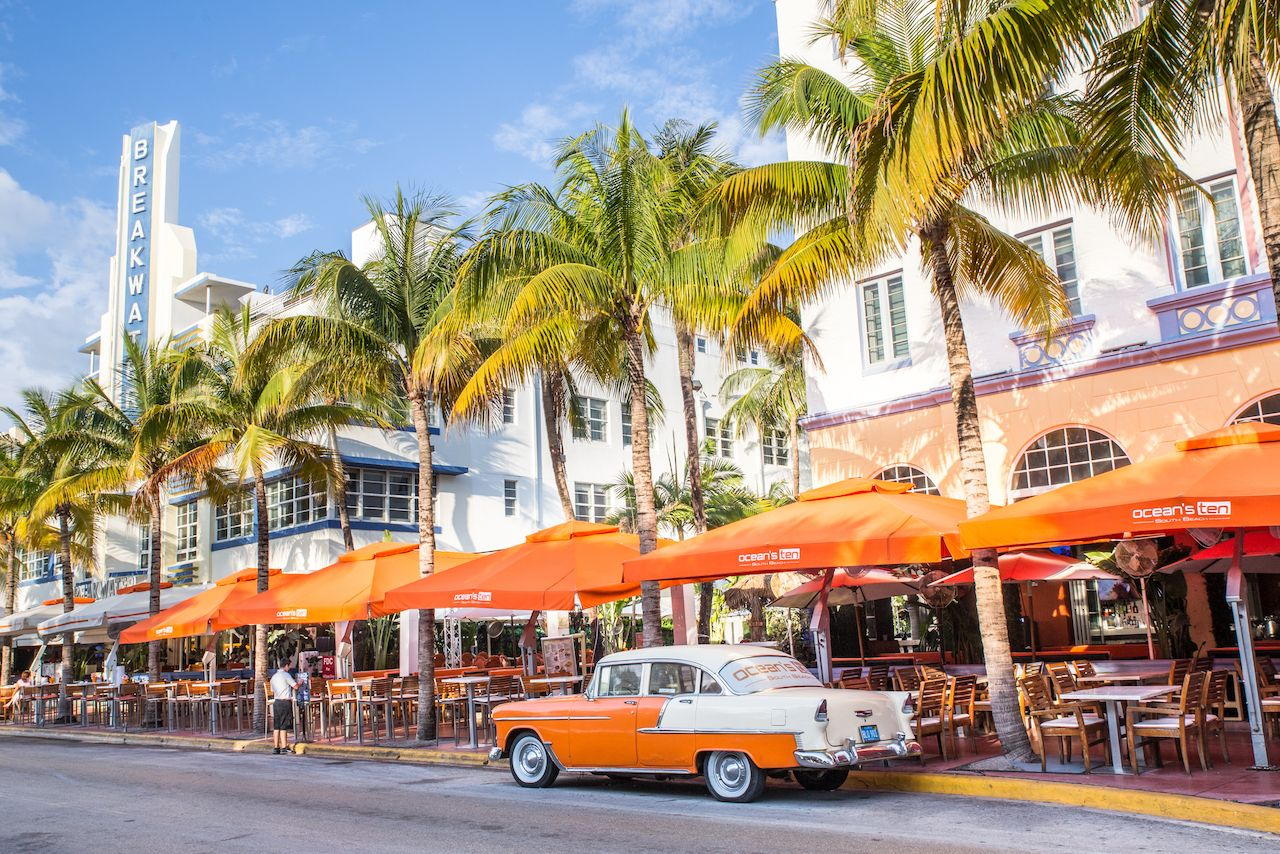 View along Ocean Drive along South Beach Miami in the historic Art Deco District, Florida