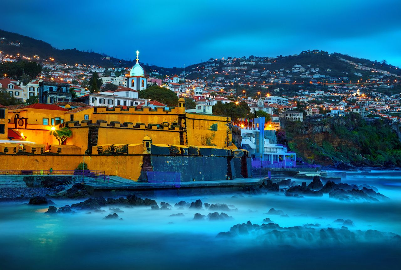 View of Fortaleza old castle of Sao Tiago. Funchal, Madeira, Portugal