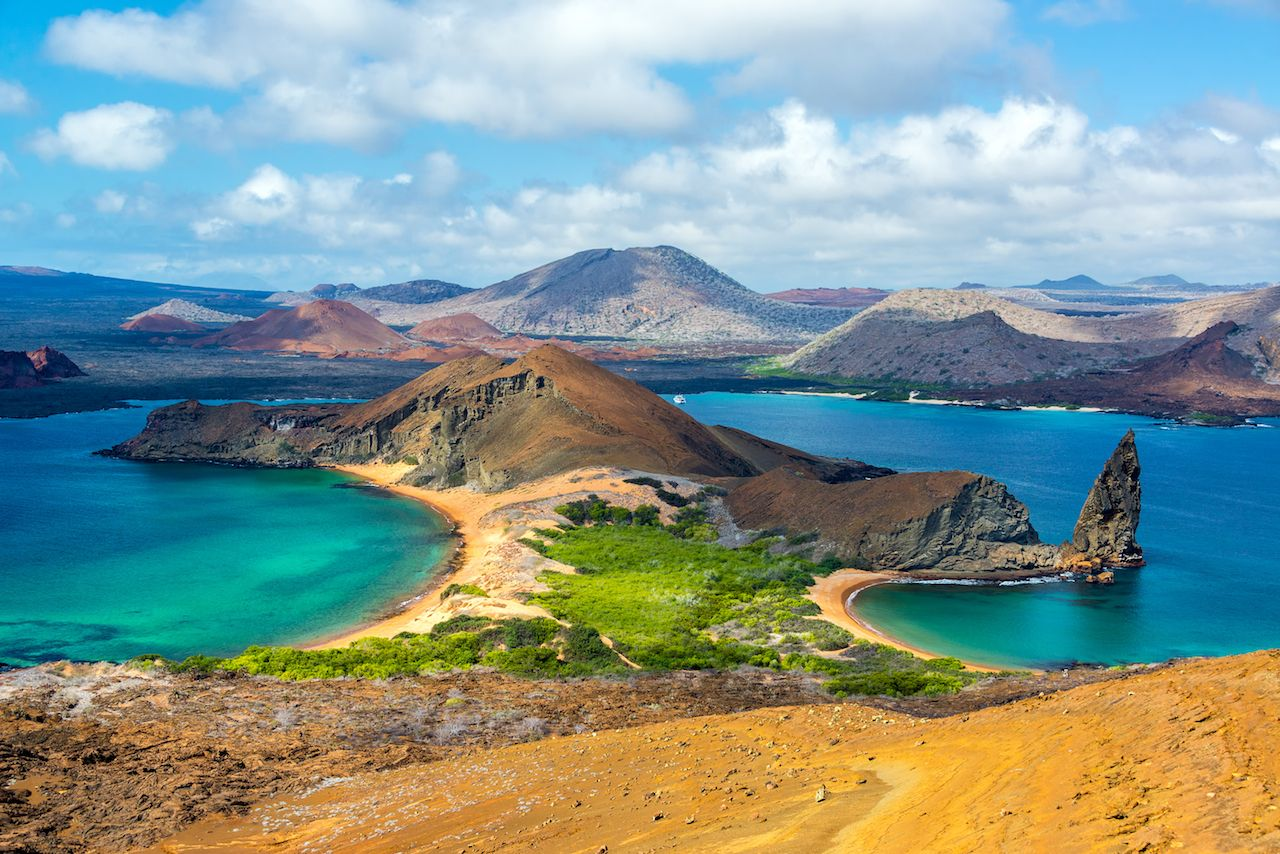 View of two beaches on Galapagos Islands in Ecuador