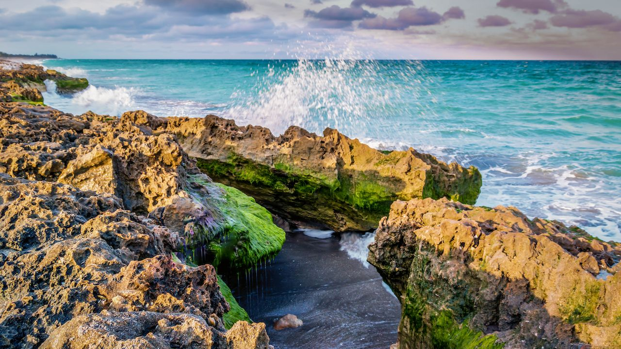 Waves crashing against rocks in Florida