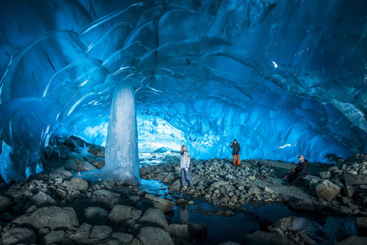 Celebrity influencer Athena Calderone exploring ice caves close to Whistler.