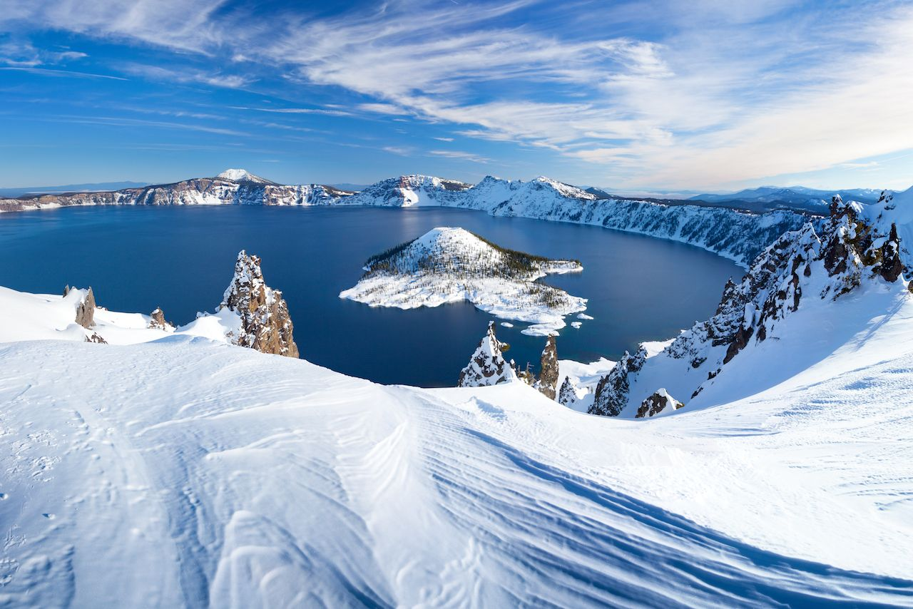 Winter scene at snowy Crater Lake Volcano