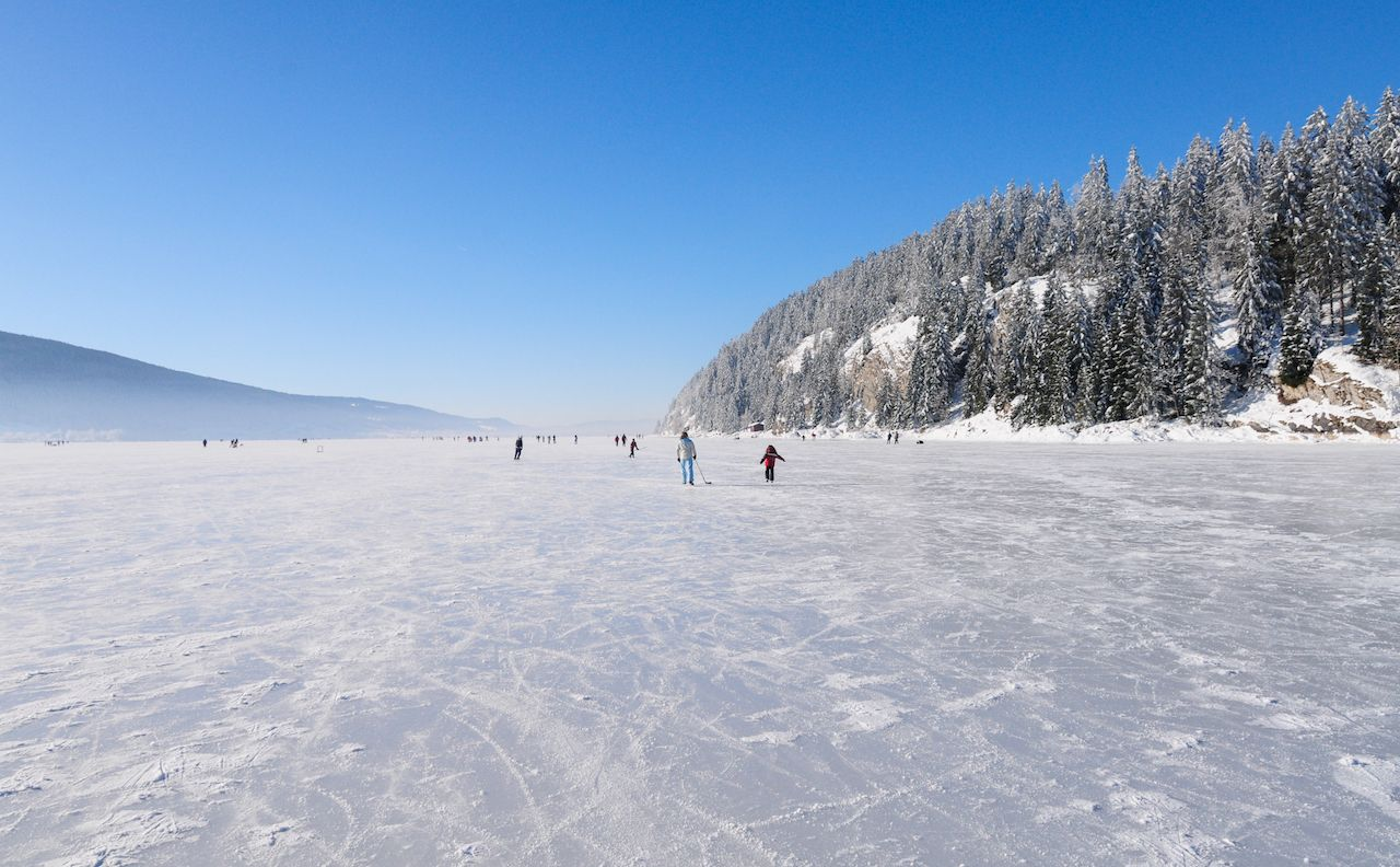 Winter scenery in Switzerland, Lake Joux, Canton Vaud