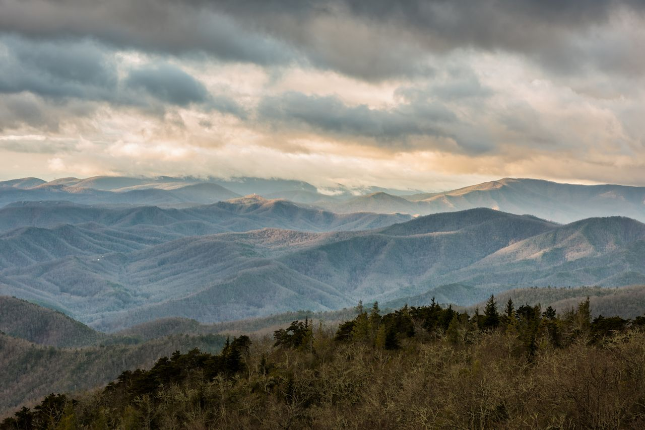 Winter sunrise on the Blue Ridge Parkway in North Carolina
