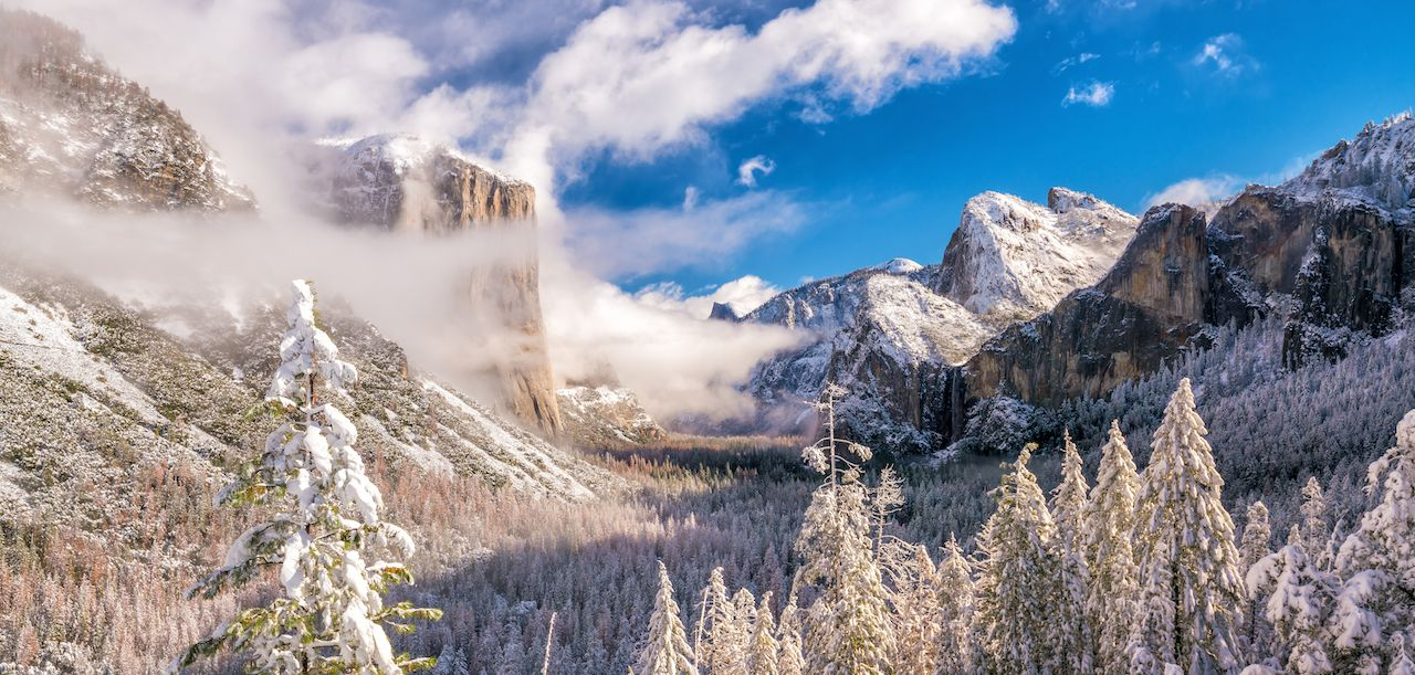 Yosemite National Park in winter California USA