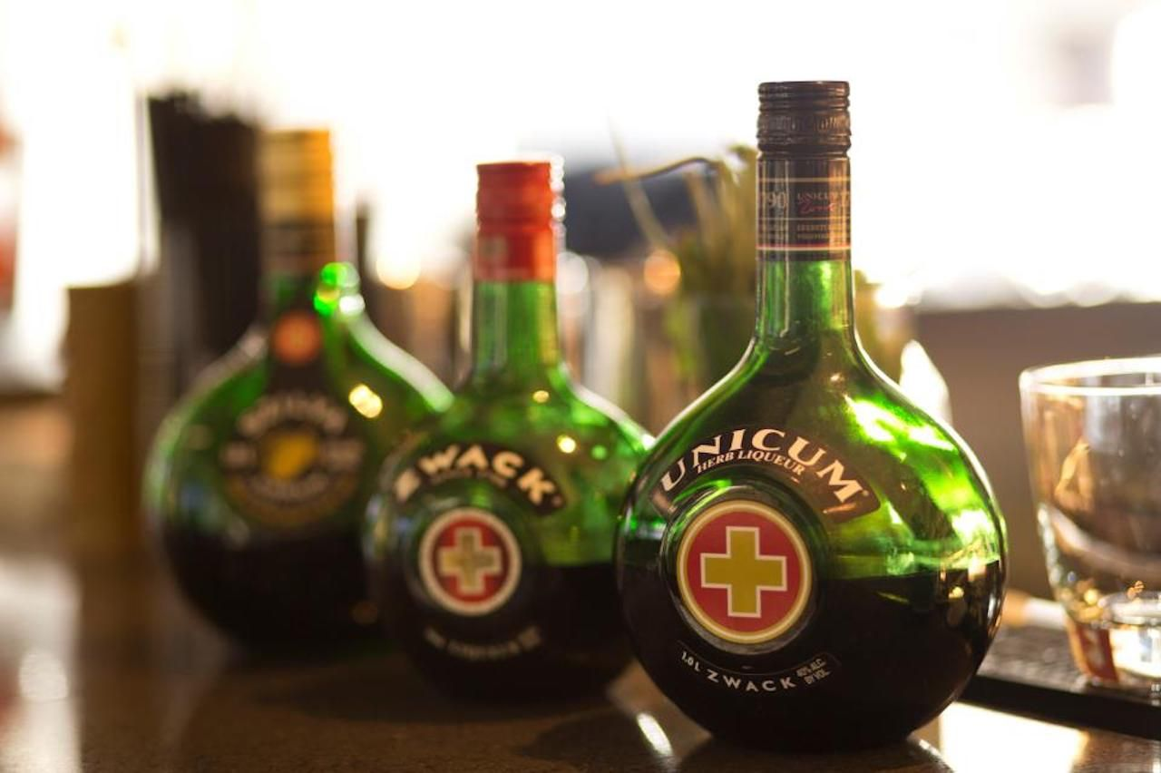 Bottles of Zwack, a Hungarian digestif