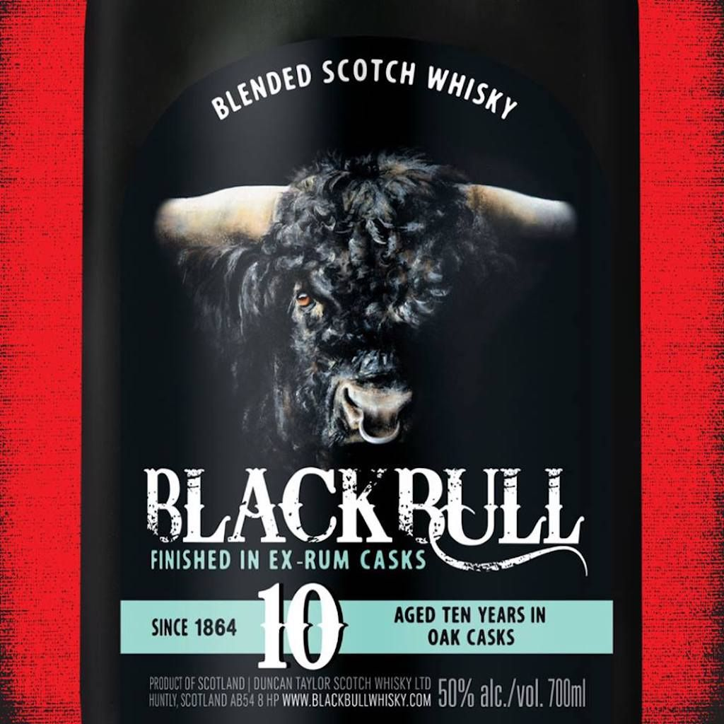bottle of black bull scotch whiskey aged 10 years