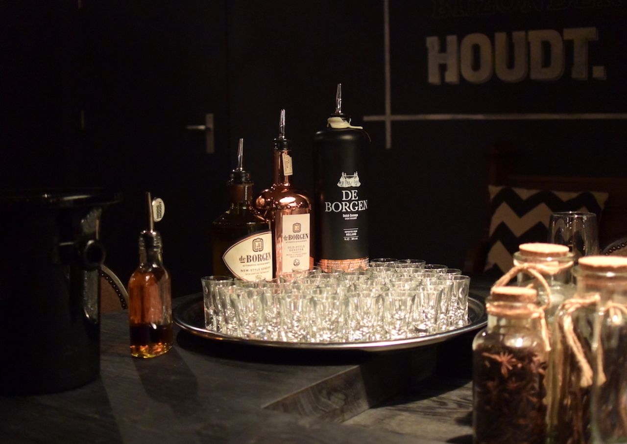 bottles of genever in Amsterdam bar