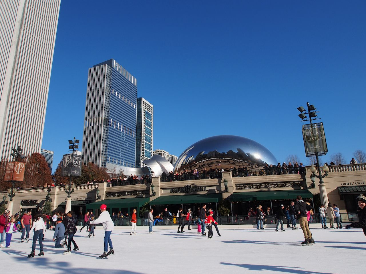 ice skating at Millennium Park in Chicago