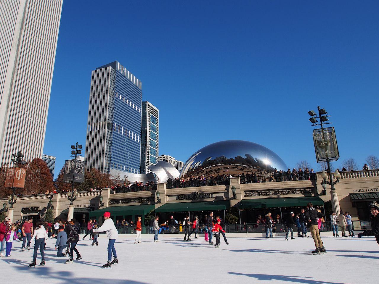 ice skating at Millennium Park in Chicago