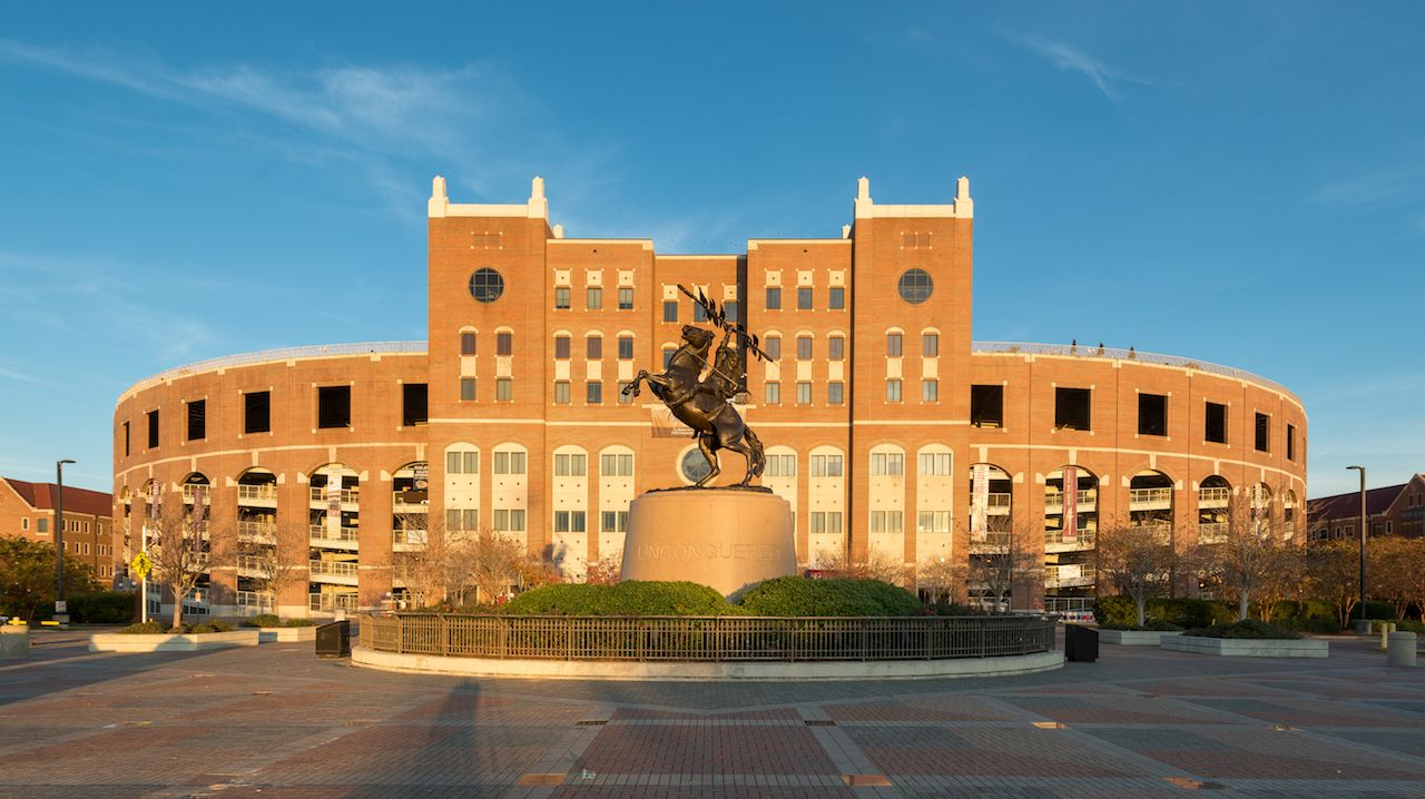 statue in front of Doak Campbell Stadium on the campus of Florida State University