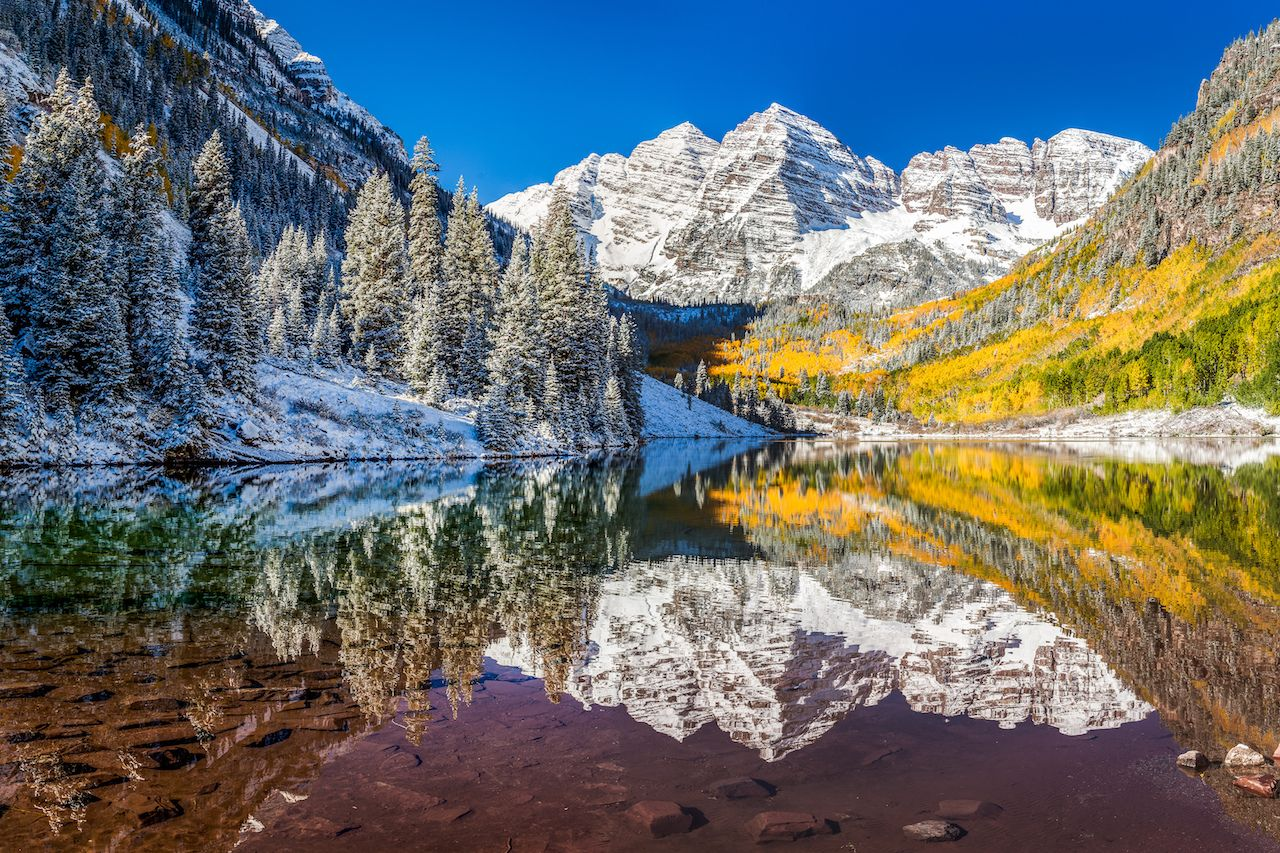winter and fall foliage at Maroon Bells, Aspen, Colorado