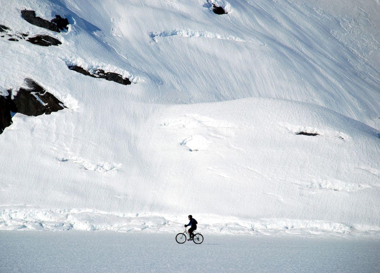 winter bike riding at Portage Glacier