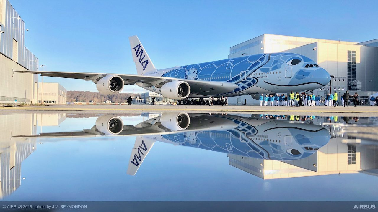 All Nippon Airways A380 sea turtle livery