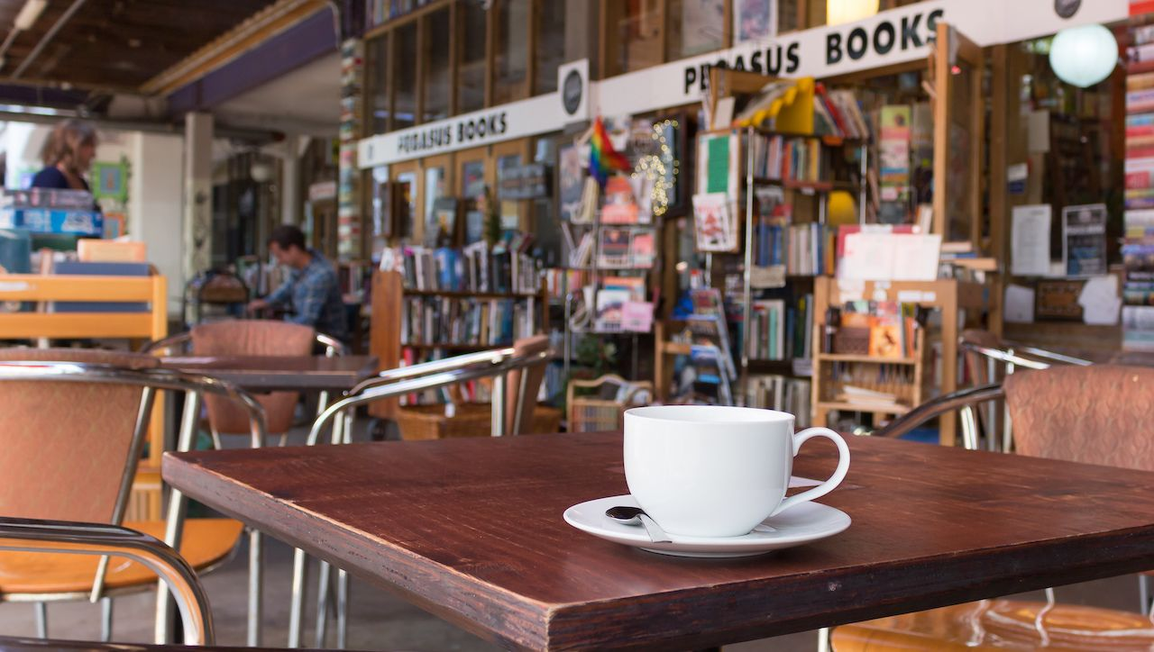 A cup of coffee outside at the Pegasus Book Store in Wellington New Zealand