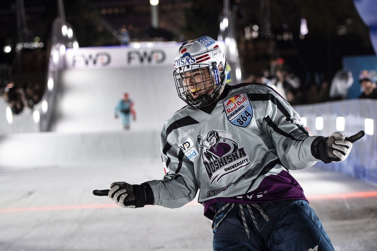 Crashed Ice skater up close